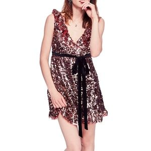 NEW Free People Sequin Belted Ruffled Mini Dress